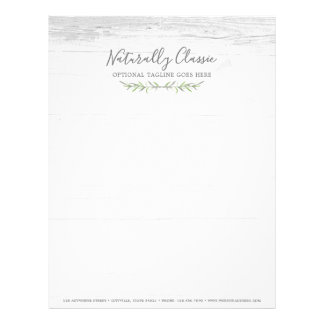 Rustic Wood & Botanical Leaf Branches Green Wreath Letterhead