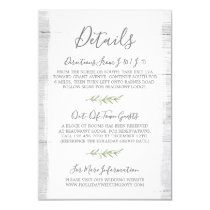 Rustic Wood & Botanical Leaf Details / Directions Card