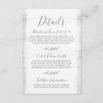 Rustic Wood & Botanical Leaf Details / Directions Enclosure Card