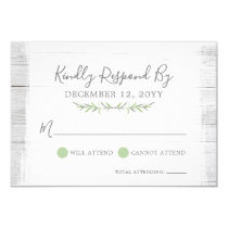 Rustic Wood Botanical Leaf Wedding Invitation RSVP