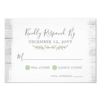 Rustic Wood Botanical Leaf Wedding Invitation RSVP