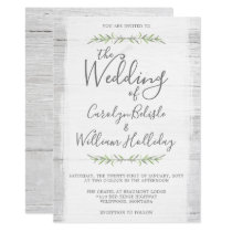 Rustic Wood & Botanical Leaves Wedding Invitation