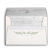 Rustic Wood & Botanical Leaves Wedding Invitation Envelope