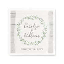 Rustic Wood & Botanical Leaves Wreath Wedding Paper Napkin