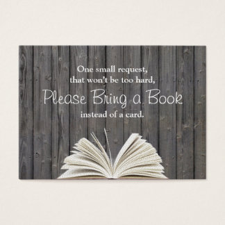Rustic Wood Bring a Book Baby Shower Insert