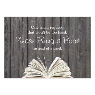 Rustic Wood Bring a Book Baby Shower Insert Large Business Cards (Pack Of 100)