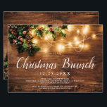 """Rustic wood brown country lights Christmas brunch Invitation<br><div class=""""desc"""">Let's celebrate Christmas brunch in style with this brown wood,  and Christmas string lights,  red and green mistletoe photo. Perfect to celebrate a winter or Christmas party theme.</div>"""