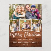 Rustic Wood Brush Script Merry Christmas 4 Photo Postcard