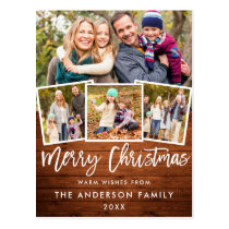 Rustic Wood Brush Script Merry Christmas 4 Photo Postcard