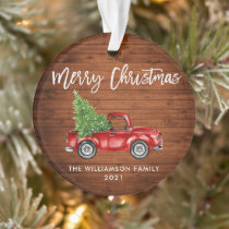 Rustic Wood Brush Script Vintage Red Truck Ornament