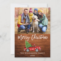 Rustic Wood Brush Script Vintage Truck Christmas Holiday Card