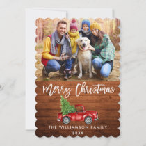 Rustic Wood Brush Script Vintage Truck Christmas S Holiday Card