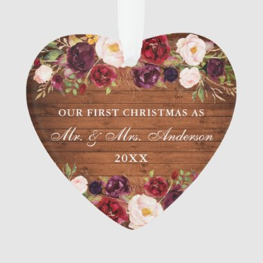 Rustic Wood Burgundy Floral First Christmas Ornament