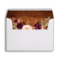 Rustic Wood Burgundy Floral Invitation Envelope