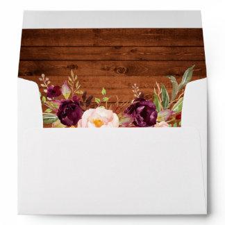 Rustic Wood Burgundy Floral Invitation Envelope