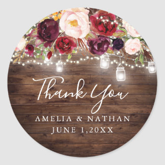 Rustic Wood Burgundy Floral Lights Wedding Classic Round Sticker
