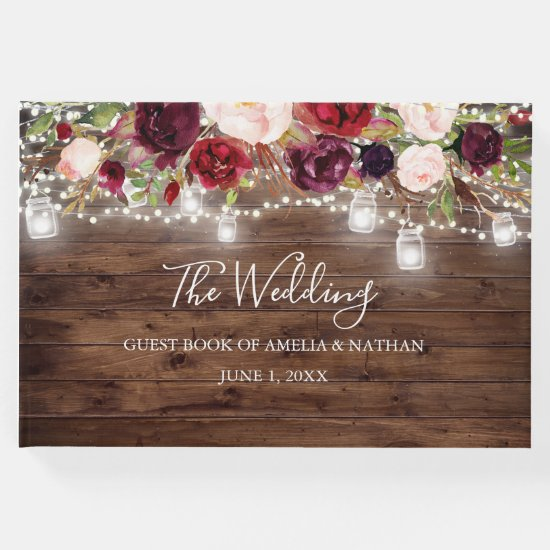 Rustic Wood Burgundy Floral Lights Wedding Guest Book