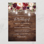 """Rustic Wood Burgundy Floral Lights Wedding Invitation<br><div class=""""desc"""">More Pretty Rustic Wedding Invitations in the Little Bayleigh Store!</div>"""