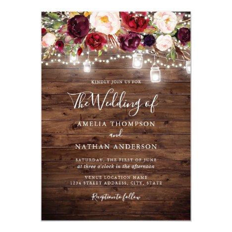Rustic Wood Burgundy Floral Lights Wedding Invitation