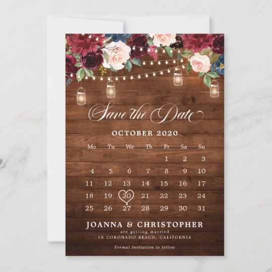 Cheap Online Wedding Save The Date Card Save The Date Template with Photo Mason Jar Rustic Burgundy Blush Wedding Save The Date Template