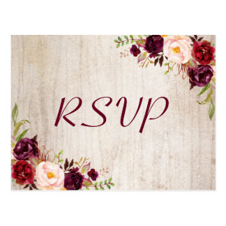 Rustic Wood Burgundy Floral Wedding RSVP Response Postcard