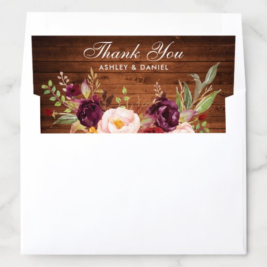 Rustic Wood Burgundy Floral Wedding Thank You Envelope Liner