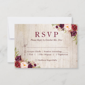 Rustic Wood Burgundy Red Floral Wedding RSVP