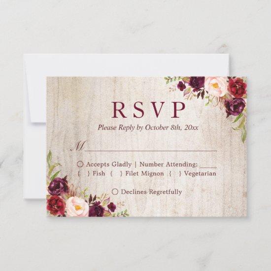 Rustic Wood Burgundy Red Floral Wedding RSVP