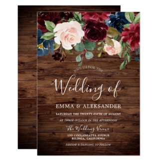 Rustic Wood Burgundy Red Wine Wedding Invite