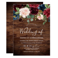 Rustic Wood Burgundy Red Wine Wedding Invite