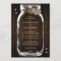 Rustic Wood Burlap Hearts Mason Jar Wedding Invitation