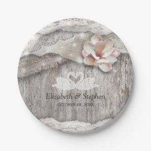 Rustic Wood Burlap Lace Floral Barn Wedding Shower Paper Plate  sc 1 st  Zazzle & Burlap And Lace Plates   Zazzle