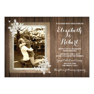Burlap And Lace Wedding Invitations Announcements Zazzle