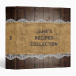 Rustic Wood/Burlap/Lace RecipeCollection with Name Binder