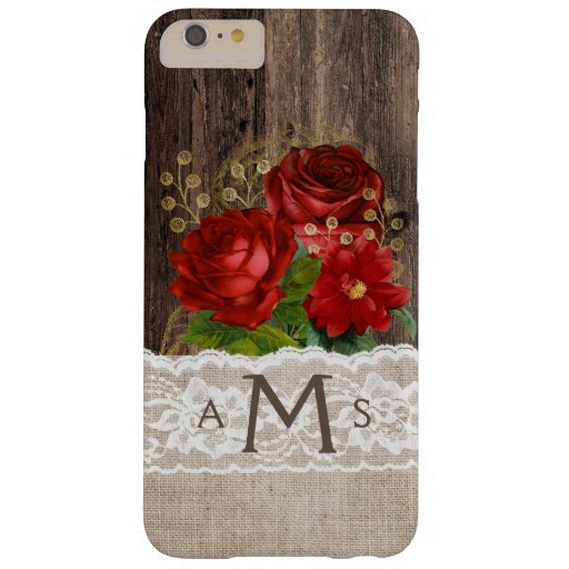 Rustic Wood Burlap Lace Red Gold Floral Monogram Barely There iPhone 6 Plus Case