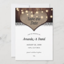 Rustic Wood Burlap Lace Save The Date Cards