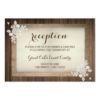 Rustic Wood Burlap Amp Lace Wedding Reception Card