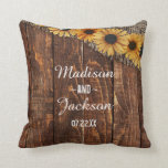 "Rustic Wood &amp; Burlap Sunflower Monogram Wedding Throw Pillow<br><div class=""desc"">Rustic Wood &amp; Burlap Sunflower Country Farmhouse Chic Wedding Monogram Ring Pillow With trendy brush script font! ~Check my shop to see the entire wedding suite for this design!</div>"
