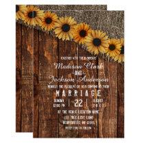 Rustic Wood & Burlap Sunflower Wedding Invitation