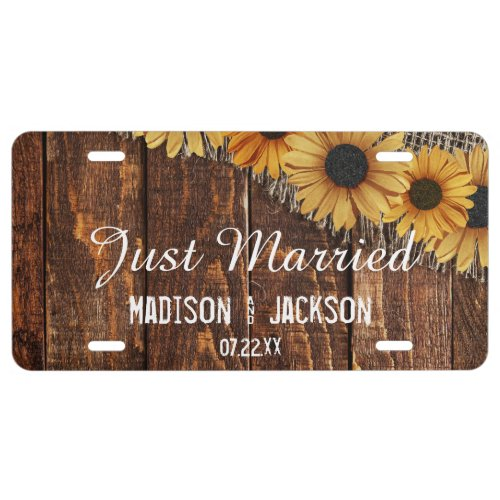 Rustic Wood Burlap Sunflower Wedding Just Married License Plate