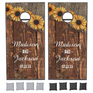 Rustic Wood & Burlap Sunflower Wedding Monogram Cornhole Set