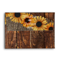 Rustic Wood & Burlap Sunflower Wedding Monogram Envelope