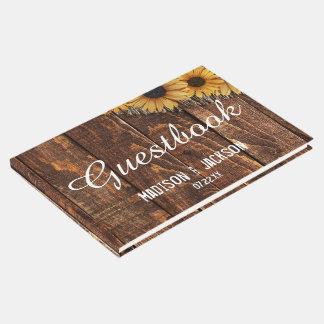 Rustic Wood & Burlap Sunflower Wedding Monogram Guest Book