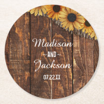 Rustic Wood & Burlap Sunflower Wedding Monogram Round Paper Coaster