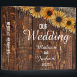 "Rustic Wood & Burlap Sunflower Wedding Photo Album 3 Ring Binder<br><div class=""desc"">Rustic Wood & Burlap Sunflower Country Farmhouse Chic Wedding Monogram Photo Album With trendy brush script font! ~ Check my shop to see the entire wedding suite for this design!</div>"