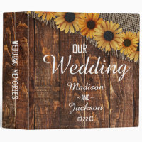 Rustic Wood & Burlap Sunflower Wedding Photo Album 3 Ring Binder