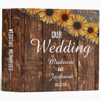 Rustic Wood & Burlap Sunflower Wedding Photo Album 3 Ring Binder