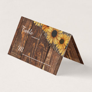 Rustic Wood Burlap Sunflower Wedding Table Number Place Card