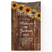 Rustic Wood & Burlap Sunflower Wedding Welcome Banner