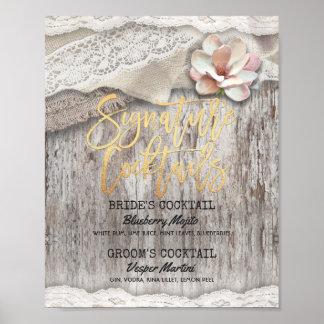 Rustic Wood Burlap Wedding Signature Drink Menu Poster